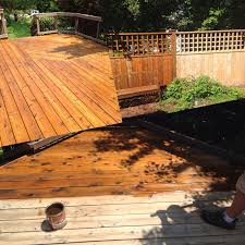 cedar deck restoration in progress with ready seal by jh painting