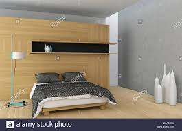 schlafzimmer in holz mit beton wand stockfotografie alamy