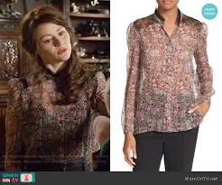 the kooples siege wornontv s floral blouse with lace panels on once upon a