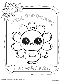 Cute Thanksgiving Turkey Coloring Pages
