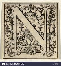 Drawings And Prints Print Roman Alphabet Letter N With Louis XIV