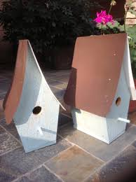Rustic Bluebird Houses On Front Porch As Decoration Painted Blue With Tin Roof