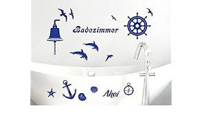 wandtattoo set badezimmer ahoi maritim mit muscheln und delfine