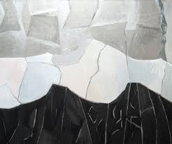 Abstract Black And White Winter Mountains Against Silver Metallic Sky Natural Scene