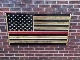 Red Lives Matter Engraved Wooden American Flag