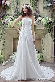 strapless ruffles chiffon wedding dress a line cheap sweep train