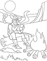 Cowboy Coloring Pages In Desert At Night