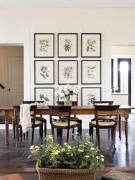 Chic Elegant Dining Room Botanical Photo Gallery Farmhouse Table Espresso