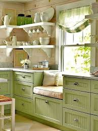 Pretty Window Seating With Green Curtain Also Wooden Kitchen Wall And Marble Countertops Besides Decorating Ideas Corner Shelving