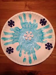 Easy Snowflake Crafts For Preschoolers Paper Plate Handprint Craft Winter Preschool On