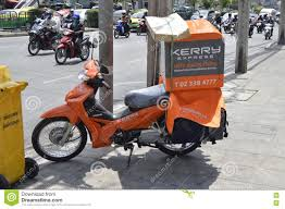 Kerry Logistic Motorcycle In Khon Kaen Street Province Thailand Stock Photo