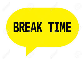 BREAK TIME Text In Yellow Speech Bubble Simple Sign With Rounded Corners Stock Photo