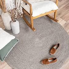 fraai jute teppich rund fair grau ø 100cm flachgewebe einfarbig boho ländlich modern wohnzimmer esszimmer schlafzimmer