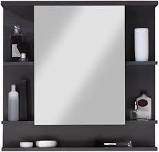 trendteam smart living badezimmer spiegelschrank spiegel tetis 72 x 76 x 20 cm in korpus graphit dunkelgrau front weiß mit viel stauraum