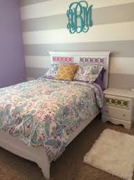 Addisons Bedroom Almost Finished Lavender Walls With Grey Striped Accent Wall