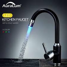 auralum led wasserhahn küche küchenarmatur 360 drehbar spültischarmatur wasserhahn mischbatterie mit 3 farbtemperaturkontrolle schwarz chrom
