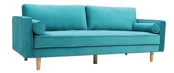 canap bleu clair canapé design 3 4 places velours bleu azur imperial miliboo