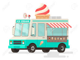 100 Icecream Truck Ice Cream On White Background Vector Illustration In A