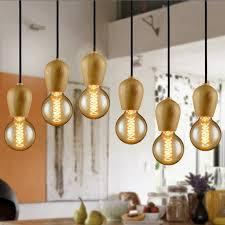 modren single original wood pendant lights creative retro