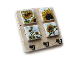 Decorative Key Holder For Wall by Key Rack Decorative Tile Key Holder Wall Hooks Sunflower