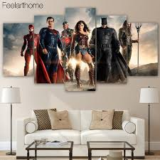 HD Printed Justice League Movie 5 Piece Canvas Art Batman Painting Print Room Decor Poster