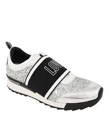 Love Moschino Schuhe Sneaker Glitzer Schriftzug Metallic Details Silber MJATRG