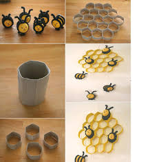 Fantastic Home Decor Of Diy Project Ideas Nice Wall Decoration Beehive And Bee Made Grey Yellow Also Black Paper