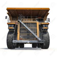 Large Haul Truck Ready For Big Job In A Mine. Front View. On.. Stock ...
