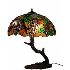 Home Depot Tiffany Style Lamps by Warehouse Of Tiffany 27 In Tree Grape Multicolored Brown Table