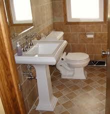 Half Bathroom Ideas With Pedestal Sink by White Small Guest Bathroom Ideas With Espresso Wooden Bathroom