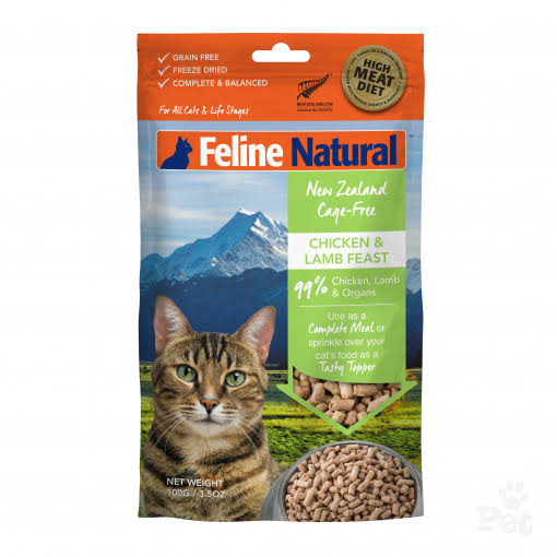 Feline Natural Grain-Free Freeze Dried Cat Food, Chicken & Lamb 3.5oz