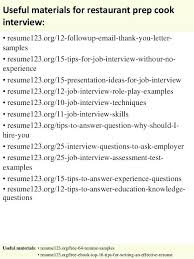 Sample Resume For Restaurant Prep Cook As Well