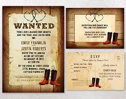 Cowboy Western Rustic Country Themed Wedding Invitations