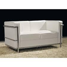canapé 2 places cuir blanc inox moderne design corbs univers du