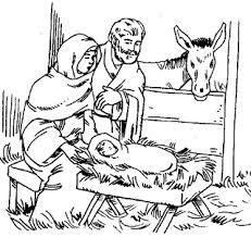 Mother Mary And Father Joseph At Just Born Baby Jesus Manger In Bethlehem Coloring Page Religious