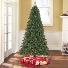 Artificial Christmas Tree 7 Ft Pre Lit Lights Holiday Wood Multicolor Light New