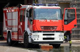 100 Fire Truck Sirens Italian S With Blue And A Man Ready For Stock
