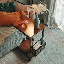 beistelltisch mit rädern abnehmbarer beistelltisch im retro holzstil geeignet für kleine räume schlafzimmer wohnzimmer wohnheim büro