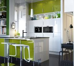 green white colour kitchen design come with shaped