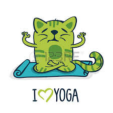 Green Cartoon Cat On Blue Mat In Yoga Position Vector Illustration Isolated White Background