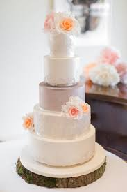 Cake Floral Flowers Lace Peach White Cream Log Stand Pretty Pale Pink Country Barn Wedding