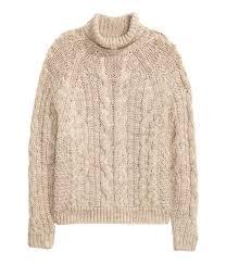 cable knit turtleneck sweater light beige melange sale h u0026m us