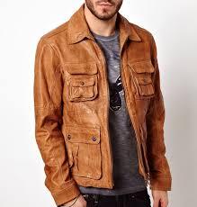 men tan brown fashion leather jacket brown leather jacket