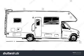 Camper Van Black And White Illustration Side View