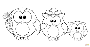 Owl Family Coloring Page
