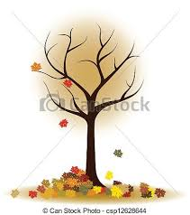 Autumn Tree With Falling Leaves Maple Leaves Vector