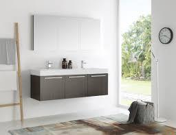 Bathroom Vanities 60 Inches Double Sink by Mezzo 60 Inch Gray Oak Wall Mounted Double Sink Modern Bathroom Vanity