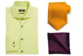 A Green Shirt Makes Good Combination With An Orange Tie And Violet Pocket