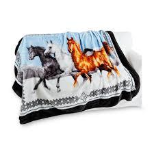 Shavel Hi Pile Horses Print Oversized Fleece Throw