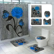 details zu 1 4pcs matte duschvorhang podest bad heim dekoration vierteiliges deko blau de